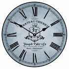 """Large wall Chateau Thierry Blue Clock 10""""- 48"""" Whisper Quiet, Non-Ticking"""