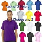 2 x Ladies Polo Shirts Size UK 8 to 26 Plus Pique T-Shirt All Colours NEW 2 PACK