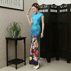 New Luxurious Royal Flowers Chinese Blue Long Dress Cheongsam Qipao lcdress12