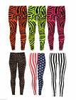 New Ladies Women Zebra Animal Print Neon Fluorescent Leggings Pant Trouser