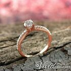Diamond Engagement Ring 14K Rose Gold Natural 0.87 TCW (SI, D-F) Size 5 Enhanced