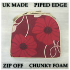 Chunky Designer Floral Piped Edge Seat Chair Zip Off 5cm Thick Foam Pads UK MADE