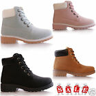 KIDS GIRLS GRIP SOLE COMBAT SUMMER LACE UP ANKLE HI TOP BOOTS TRAINERS SHOES