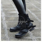 Retro Western Mid-Calf Boots Vintage Leather Buckle Womens New Motorcycle SHoes