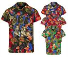 MENS HAWAIIAN SHIRT JUNGLE SHORT SLEEVE STAG BEACH HOLIDAY SUMMER FANCY DRESS