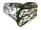 Ladies 925 Sterling Silver Filigree Finger/Thumb Ring Sizes P - Z