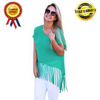Fashion Women's Ladies Short Sleeve Tassel Blouse Lady Loose Casual Tops Shirt