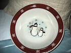 Royal Seasons-Large Bowl with Snowman in Middle & Maroon Snowflakes Rim