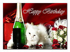 c058; Large Personalised Birthday card; Custom made for any name; White persian