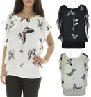 Women Chiffon Butterfly Print Blouse Necklace Batwing Sleeveless Sexy Ladies Top