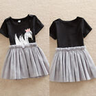Infant Baby Girls Swan Black Romper Tutu Jumpsuit Dress Outfits Tulle Clothes us