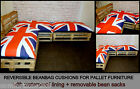 BEANBAG CUSHIONS FOR PALLET GARDEN FURNITURE - UNION JACK - SMILEY BEAN BAGS