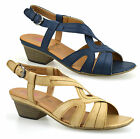 Ladies Womens Mid Block Heel Slingback Casual Comfort Walking Sandals Shoes Size