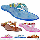 LADIES JELLY FLIP FLOPS WOMEN SUMMER BEACH CASUAL FESTIVAL DIAMANTE FLAT SANDALS