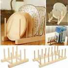 Wooden Plate Stand Wood 3/6/7 Dish Rack Pots Kitchen Cups Display Drainer Holder