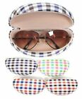 Easy-Open & Close Plaid Pattern Large Sunglasses Eyeglasses Clamshell Case BE151