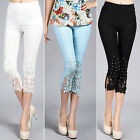 Women Cropped High Waist Lace Floral Rhinestone Stretch Trousers Pants Leggings