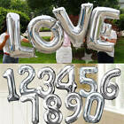 "40"" Giant Alphabet Foil Number Balloons Silver Helium Large Birthday Wedding Dec"