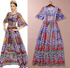 Summer Women Maxi Boho beach long floral printed dress evening party sexy dress