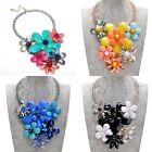 Luxury! Fashion Chunky Colorized Resin Crystal Flower Statement Choker Necklace