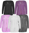 New Women Ladies Fish Net Crochet Bolero Long Cardigan Plus Sizes Top