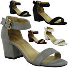 WOMENS LADIES SUMMER ANKLE STRAP CHUNKY LOW BLOCK HEEL SHOES BUCKLE SANDALS SIZE