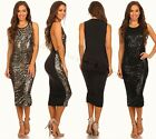 Gold Black Sequin Side Boob Cutout Deep Plunging Flex Muscle Bodycon Midi Dress