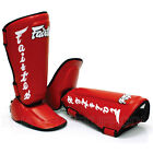 Fairtex Shin Guards Muay Thai Boxing SP7 Red Twisted Shin Pads Syntek Leather