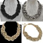 Handmade Weave Multiple Layers Chain Mixed Colors Beads Pendant Chunky Necklace