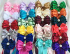 """Bouquet Handle Large 5"""" Bridal Satin Ribbon bow with tails jeweled bling centre"""