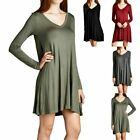 Long Sleeve Solid Plain V Neck Tunic Dress Casual Cute Easy Wear Rayon S M L