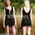 sale GYPSY forever hot FESTIVAL new faux suede fringed MINI DRESS 8 10 12 S M L