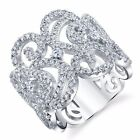 925 Sterling Silver Large Cocktail CZ Ring with Scroll Design Work Formal Wear