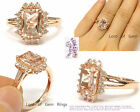 7x9mm Emerald Cut Morganite Full Cut Diamonds Engagement Ring 14K Rose Gold