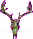 Hot Pink Camo Deer Skull S11 Vinyl Sticker Decal hunting real buck whitetail