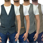 Mens Marc Darcy Waistcoat Designer Tailored Fit Tweed Herringbone & Soft Touch