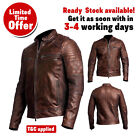 Men's Retro Vintage Cafe Racer Motorcycle Distressed Brown Biker Leather Jacket,