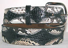 Genuine Black & Black & White Python Skin Belt sizes 24 to 48
