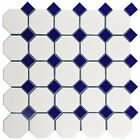 "2"" Octagon Porcelain  Mosaic Tile Matte White With Glossy..."