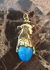 Small Gold Plated Egyptian Nefertiti Bust Pendant with Turquoise Shade Cabochon