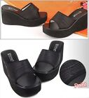 Pleats 8cm Wedge Sandals Women's Mules Slippers Platforms Women Shoes US 4.5~7.5