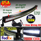 """Cool White 50"""" 288W CURVED Combo LED Work Light Bar Fog Driving DRL SUV 4WD JEEP"""