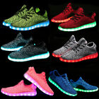 Hot Unisex 7 color LED Light Lace Up Luminous Sneaker Shoes USB rechargeable