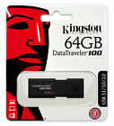 Kingston 8GB, 16GB, 32GB, 64GB USB 3.0 DT100 G3 Flash Memory Pen Drive Stick Lot