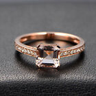 7mm Asscher Cut VVS Morganite Pave Diamonds Engagement Ring Solid 14K Gold