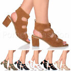 WOMENS LADIES MID HEEL LACE UP PEEP TOE SUMMER EVENING GLADIATOR SANDALS SIZE