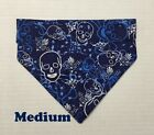 Skulls Crossbones Navy Blue Camo King Over Collar Slide On Pet Dog Bandana Scarf