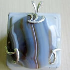 HAND DESIGNED SILVER 925 PENDANT WITH AGATE NATURAL GEMSTONE, FROM RUSSIA