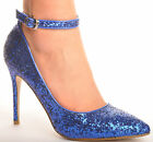 New Blue Glitter Pointed Toe Wedding Heels Sandals Bridal Party Prom Shoes