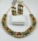 Egyptian 3 Strand Necklace & Earring Set Carnelian, Green Jade & Lapis Beads 18""